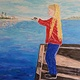 Oil painting Alyssa Fishing - White Rock Pier, BC by Gary Doll