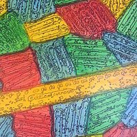Acrylic painting CR-128 Glass Ruler in Yellow by John Hovig