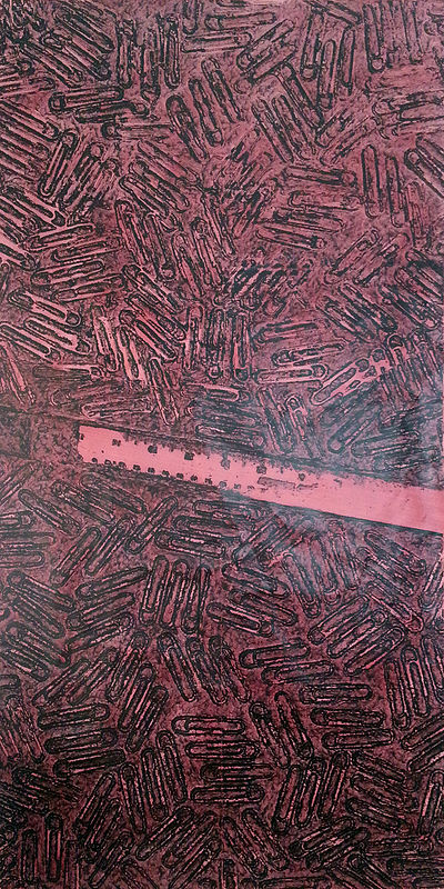 Acrylic painting CR-239 Steel Ruler in Red by John Hovig