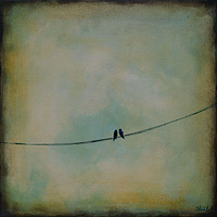 Acrylic painting Two Birds on a Wire by Sally Adams