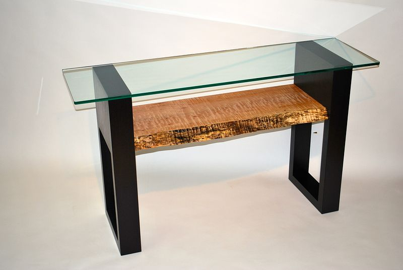 Western Curly Maple / Wenge Console Table