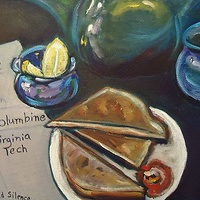 Oil painting Tea, Toast and Silence by Michelle Marcotte