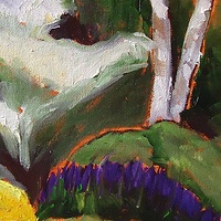 Oil painting Dogwood Tree View 2 - Niagara Parks Botanical Gardens by Michelle Marcotte