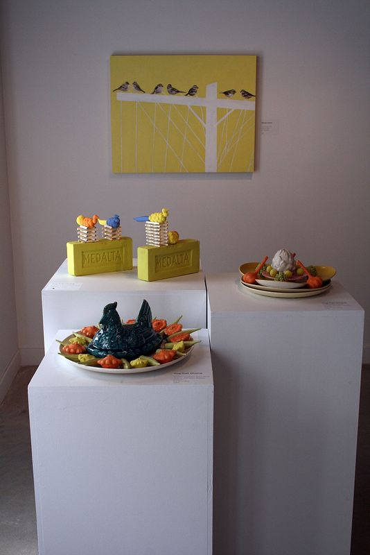 "installation view of ""Custard Perch"" alongside Ying-Yueh Chuang's sculpture by Belinda Harrow"