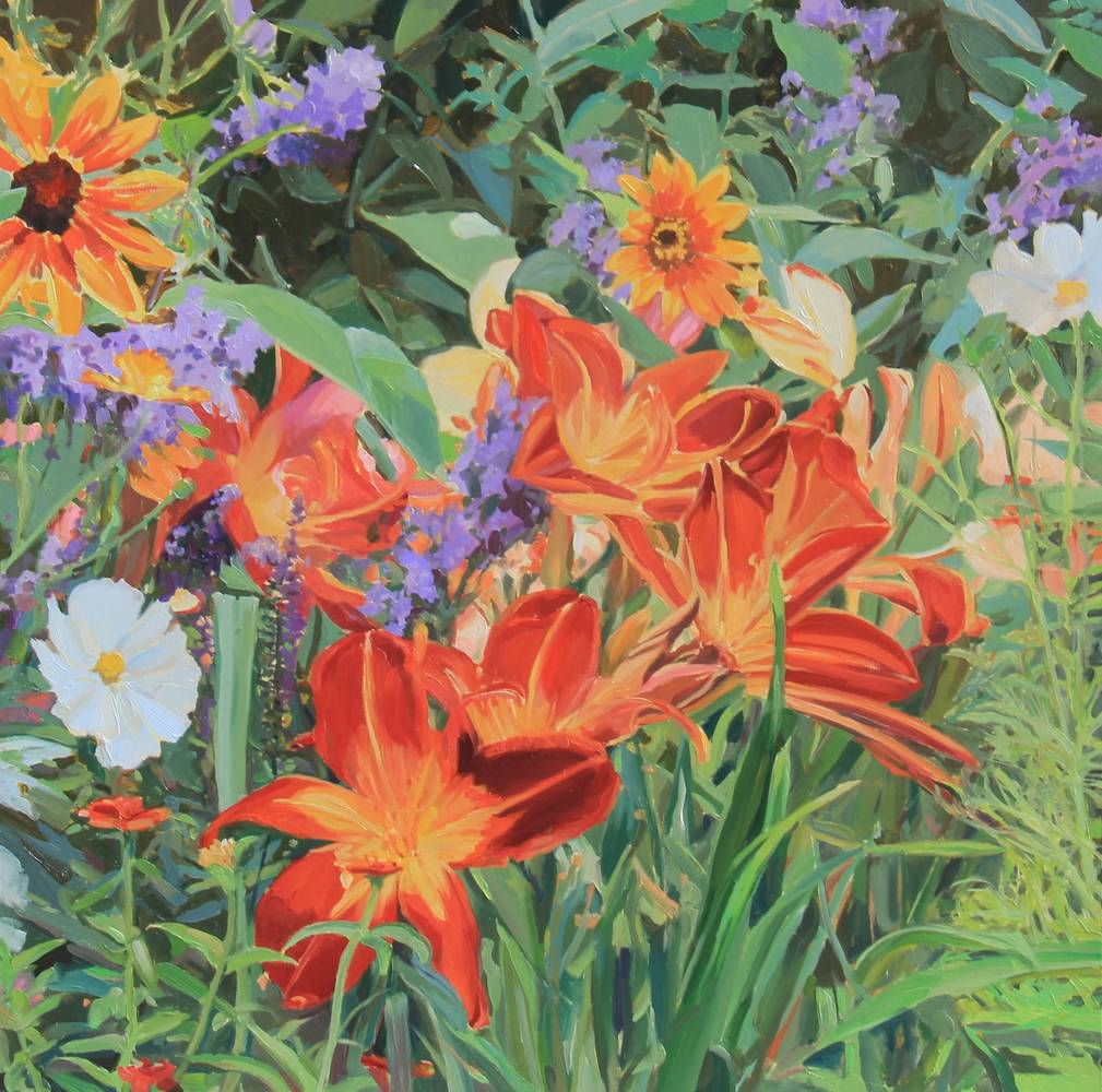 Oil painting Lily's and Sunflower Daisy's by Susette Gertsch