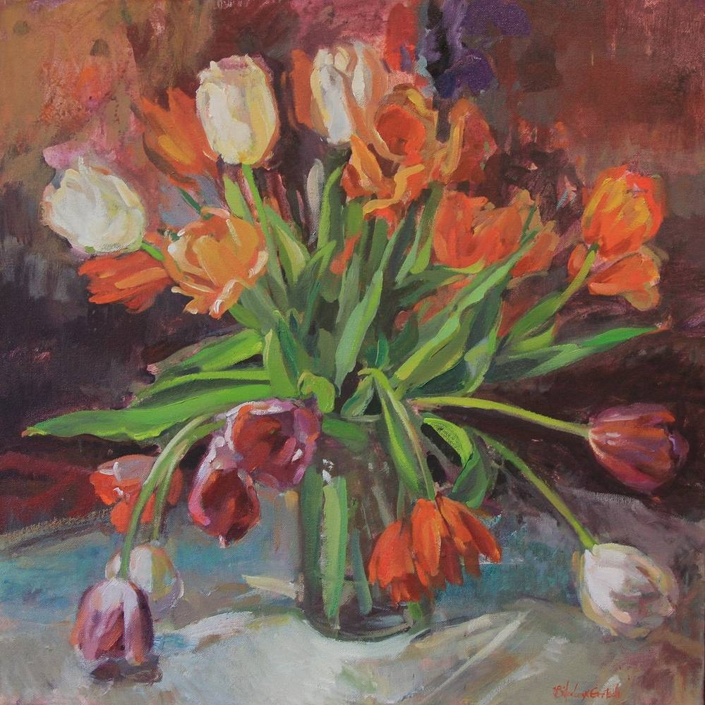 Oil painting The Secret Garden Series - Tulips in a Vase by Susette Gertsch