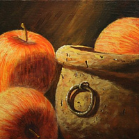 Acrylic painting Apple pot by George Servais
