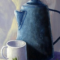 Acrylic painting Grammy's Coffee Pot by George Servais