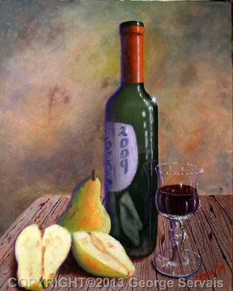 Acrylic painting Wine and Pears by George Servais