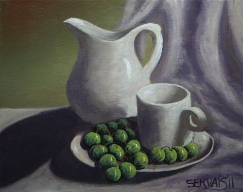 Acrylic painting  A Table Setting by George Servais
