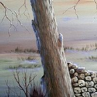 Acrylic painting The Wood Pile by George Servais
