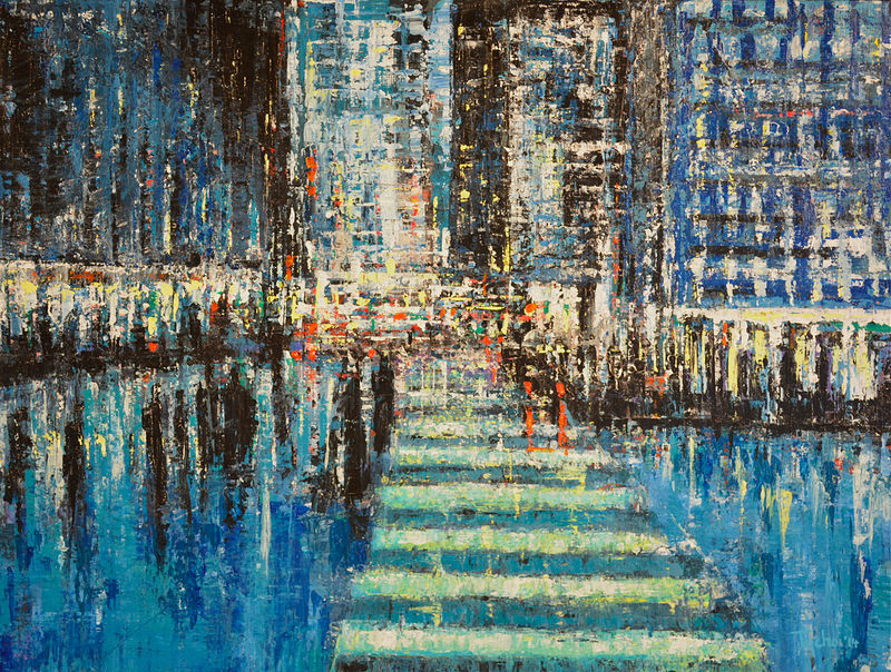 Acrylic painting Urban Rhapsody #15  by David Tycho