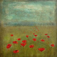Acrylic painting Breezy Poppies by Sally Adams