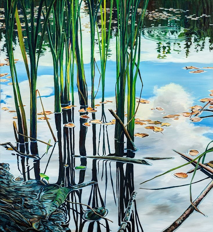 Oil painting Hyla Park Pond by Michael McEwing