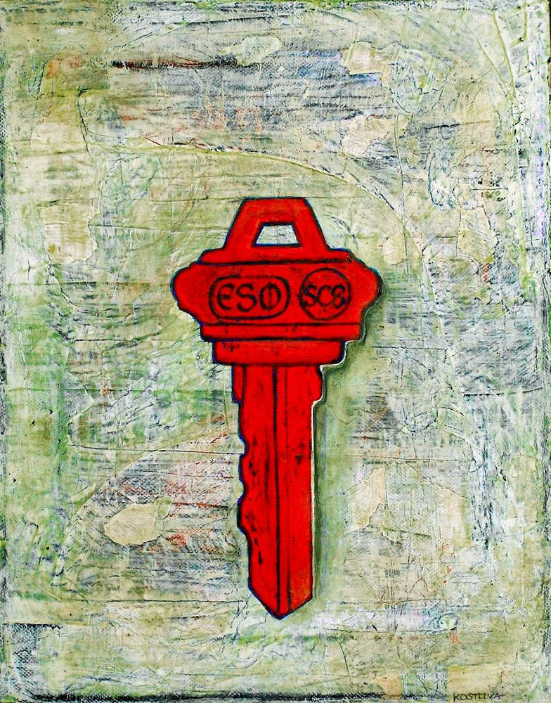 Acrylic painting Red Key by Jarmila Kostliva