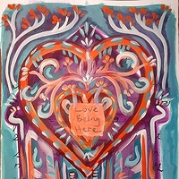 Acrylic painting House of the Heart: Love Being Here by Emily K. Grieves