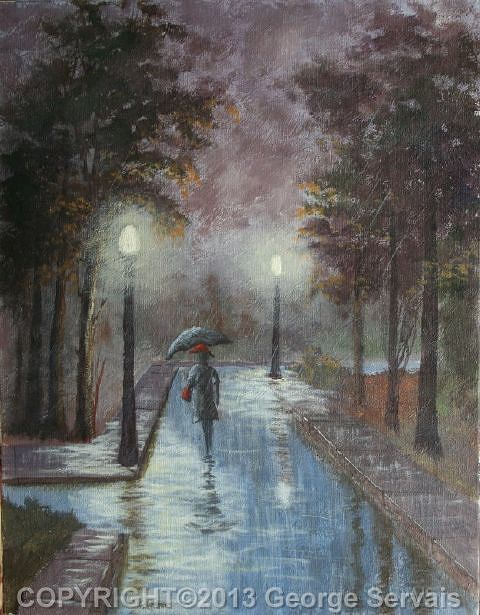 Acrylic painting Autumn Eve Rain 1 by George Servais