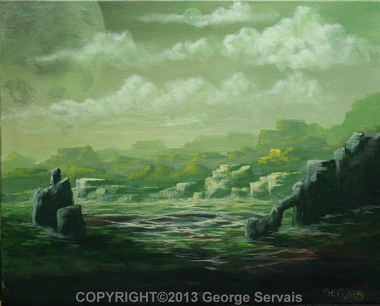 Acrylic painting Hostile Worlds 2 ON HOLD by George Servais