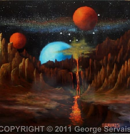 Acrylic painting Volcanic Rise by George Servais