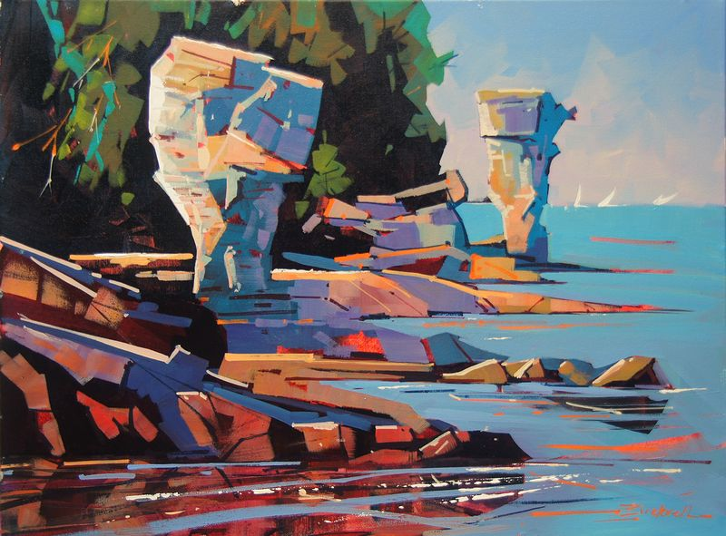 Passing Flower Pot Island   Acrylic 18x24 2014 by Brian  Buckrell