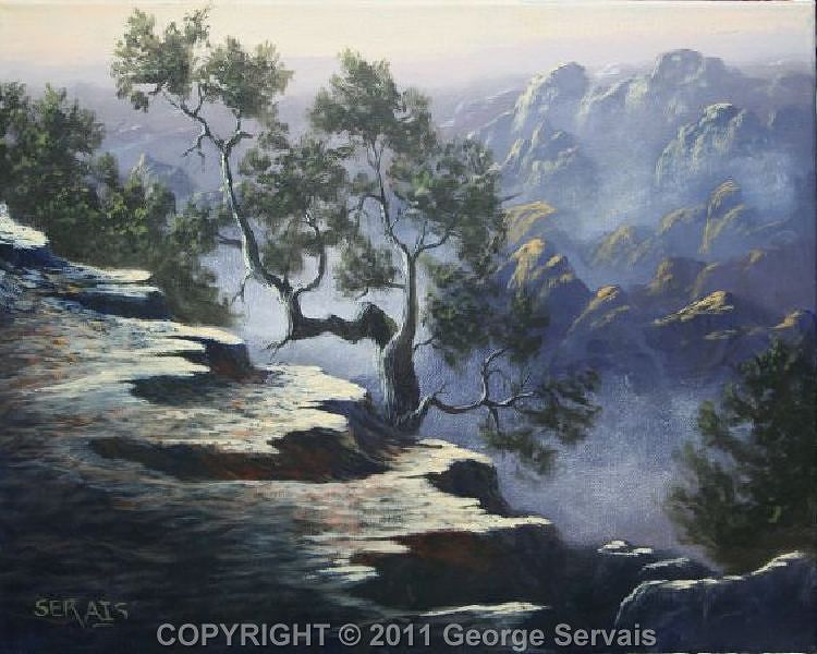 Acrylic painting Canyon Cedars by George Servais