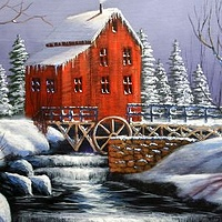 Acrylic painting Winter Mill by George Servais