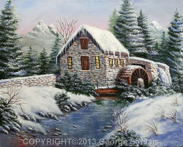 Acrylic painting Winter at the Mill by George Servais