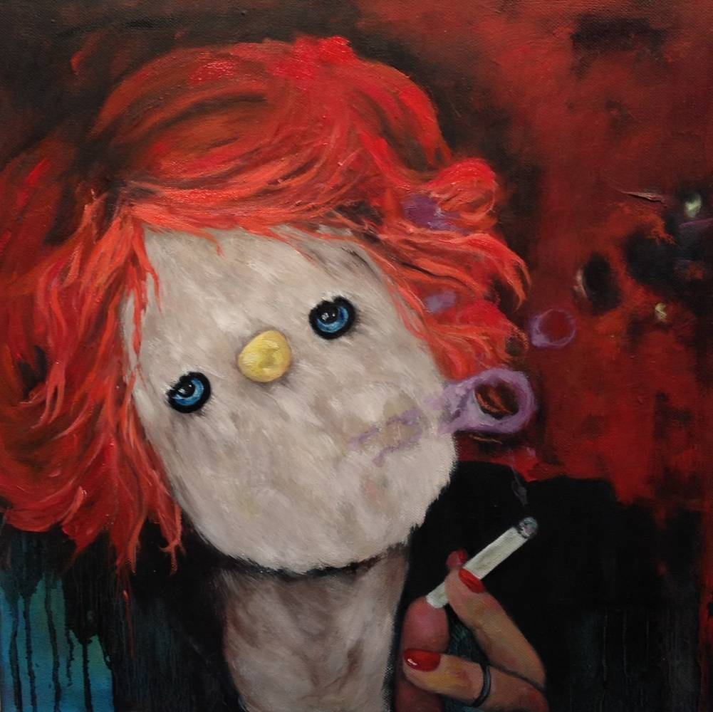 Oil painting Smokin by Jeannie Polisuk