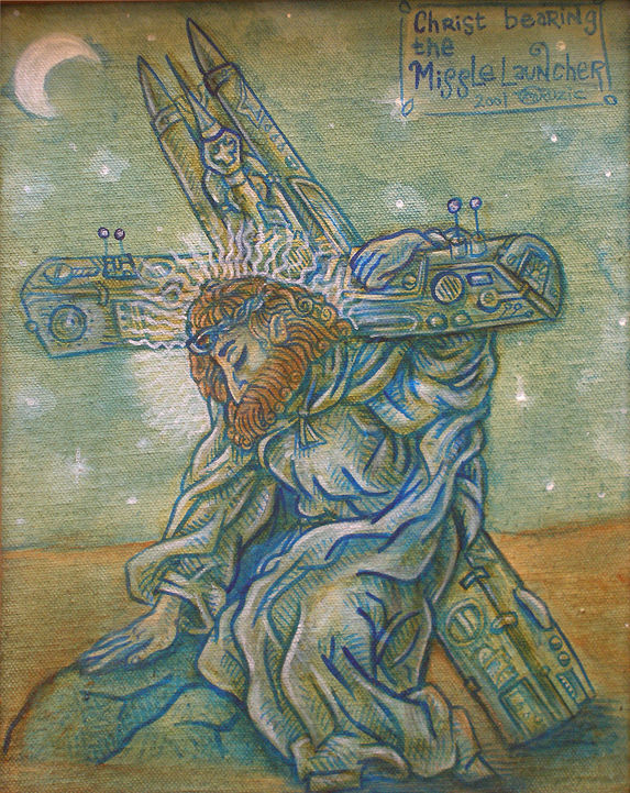 Christ bearing the Missile Launcher by Kenneth M Ruzic