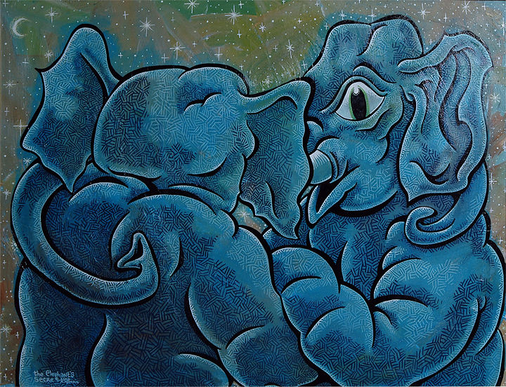 Acrylic painting the Elephant's Secret by Kenneth M Ruzic