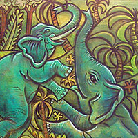 Acrylic painting the Elephant Oasis by Kenneth M Ruzic