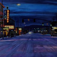 Oil painting Snow Day Night by Shawn Demarest