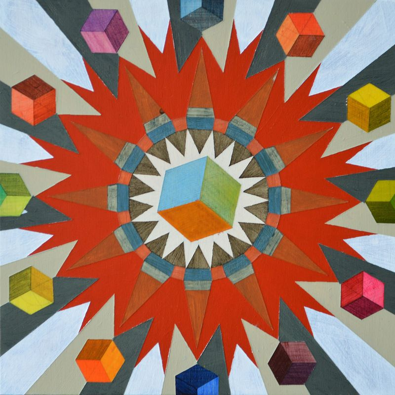 Acrylic painting The Cubic Atom by Graham Hall