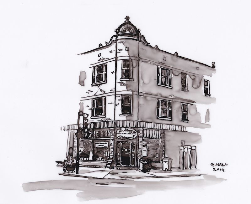 Drawing Depanneur (La Tabagie d'Outremont) by Graham Hall