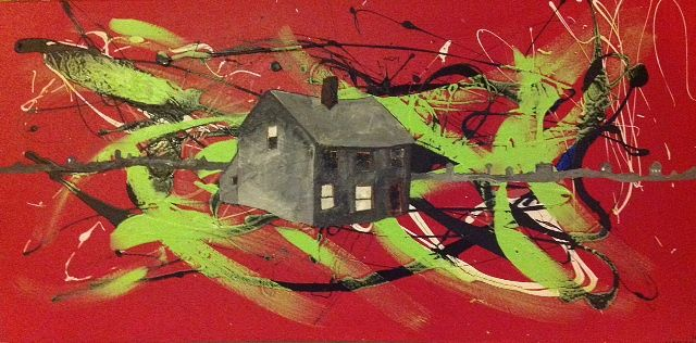 Acrylic painting House on Red/The House of Cromwell by Bernard Scanlan