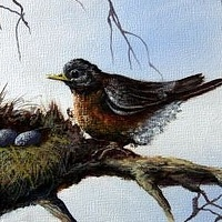 Acrylic painting Momma Bird by George Servais