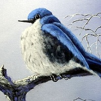 Acrylic painting Bluebird  on a Branch by George Servais