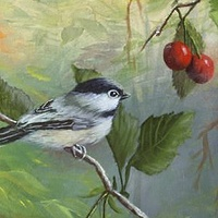Acrylic painting Chickadee and Cherries by George Servais