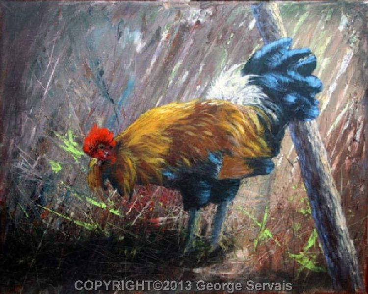 Acrylic painting Rooster1 by George Servais