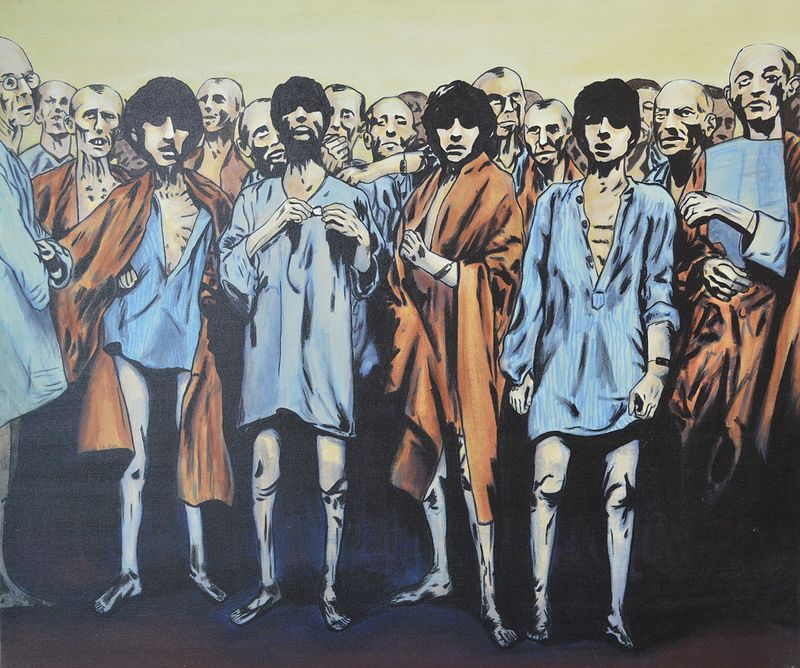Acrylic painting Beatles Death Camp Survivors by Graham Hall