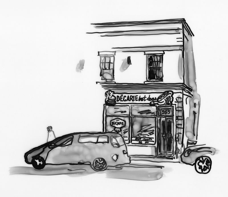Drawing Decarie Hot Dog by Graham Hall