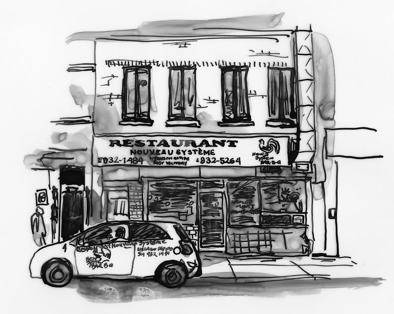 Drawing Restaurant Nouveau Systeme by Graham Hall