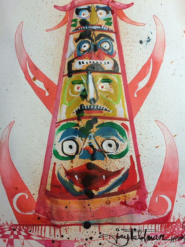 Mixed-media artwork basic totem by Joey Feldman