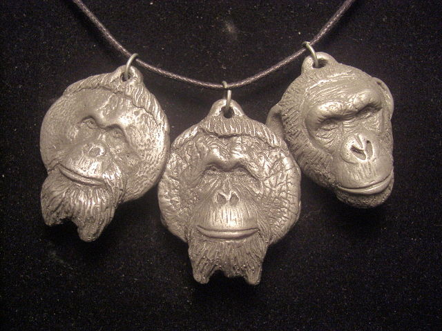 Center for Great Apes light cold cast pewter set by Jason  Shanaman
