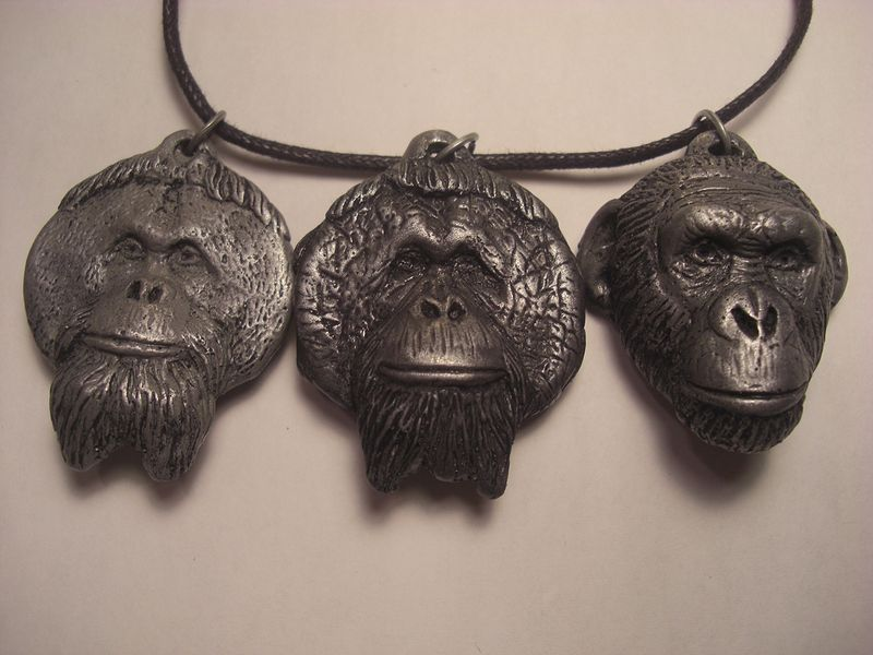 Center for Great Apes pendant set dark cold cast pewter by Jason  Shanaman