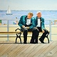 Watercolor Brighton Beach Smoke Break by Travis Poelle