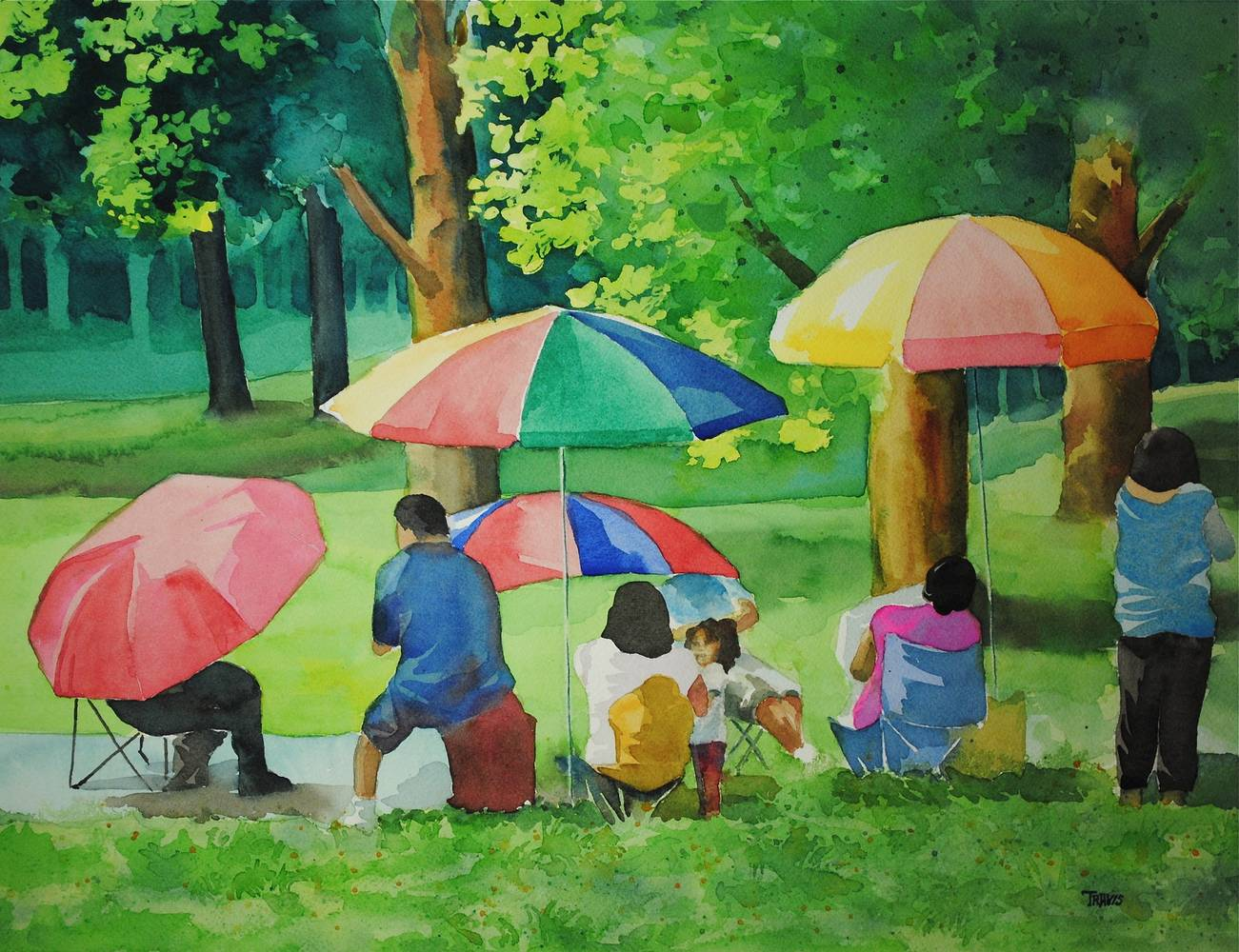Watercolor Riverside Picnic by Travis Poelle