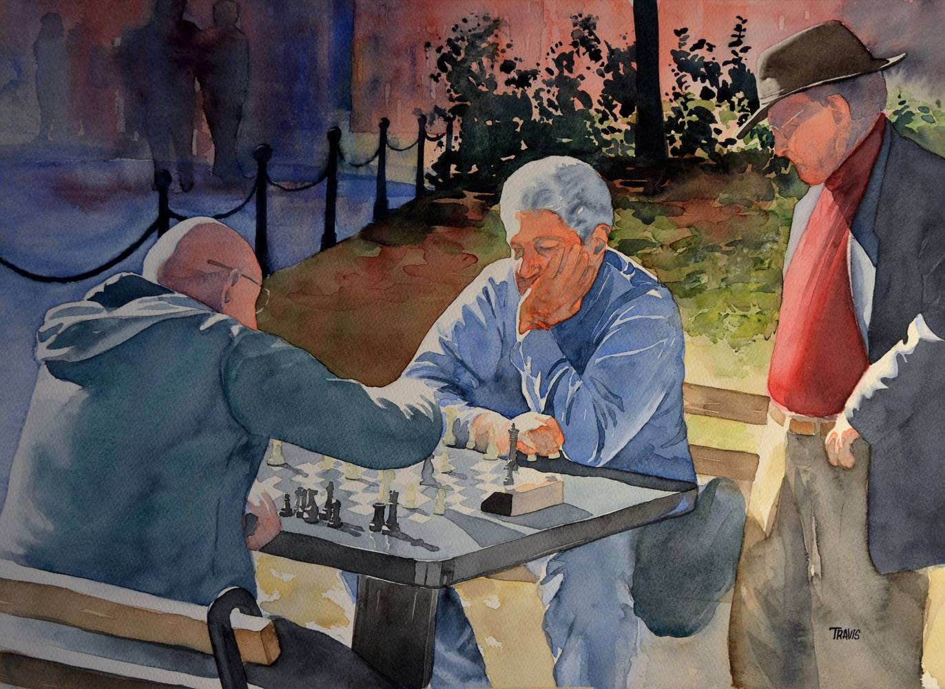 Watercolor Union Square Chess Club by Travis Poelle