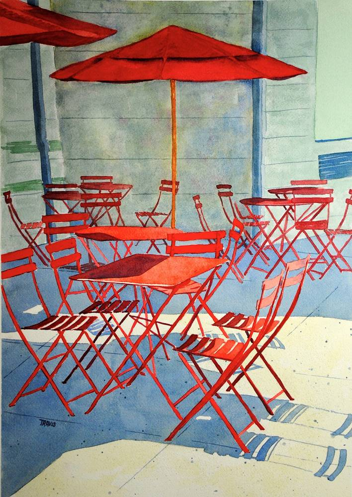 Watercolor Empty chairs by Travis Poelle