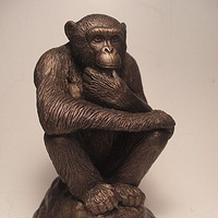 Painting Primal Thinker Chimpanzee sculpture by Jason  Shanaman